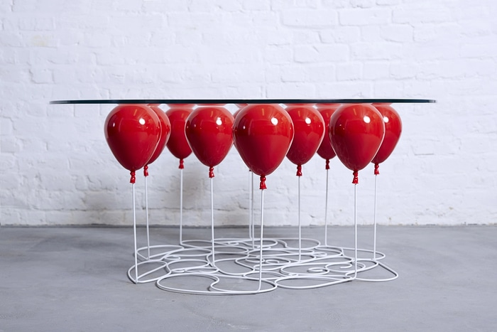 Duffy London UP Balloon Glass Table Red