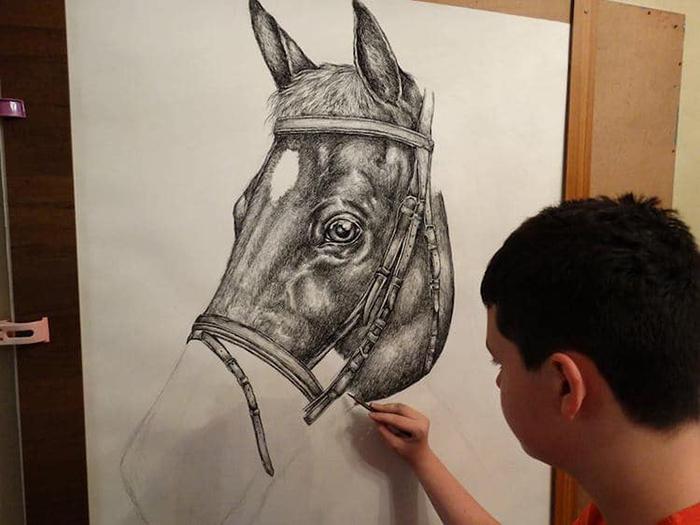 Dusan draws an incredible horse portrait