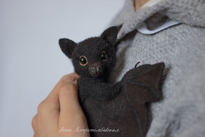Felted Wool Bat Toy by Anna Yastrezhembovskaya