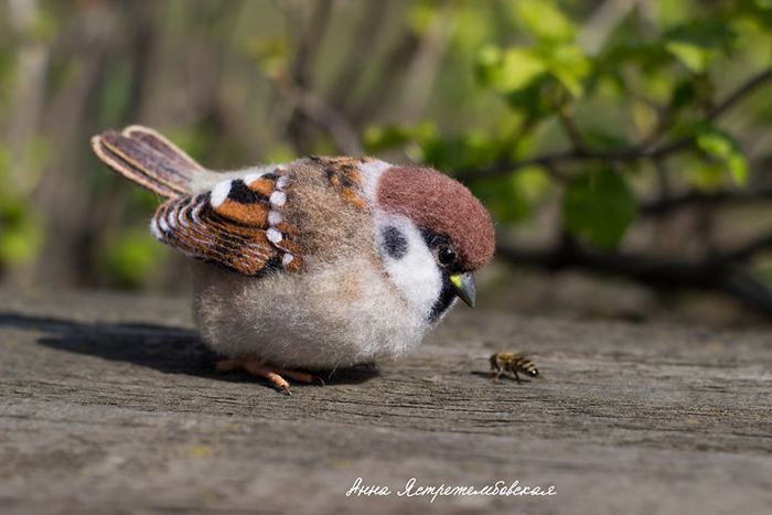 Felted Wool Brown Bird Toy by Anna Yastrezhembovskaya