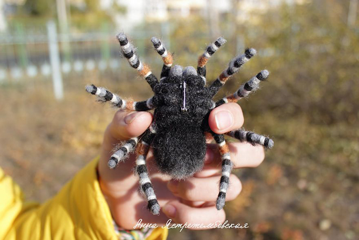 Felted Wool Tarantula Brooch by Anna Yastrezhembovskaya