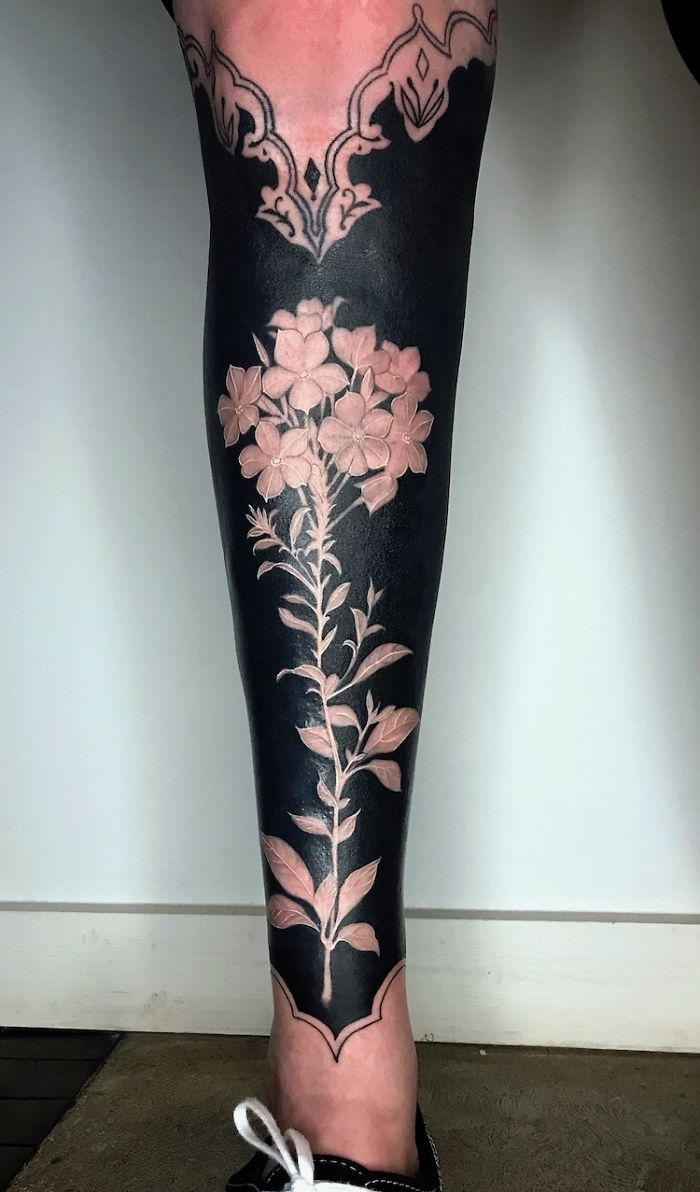 Floral Body Art by Esther Garcia on Lower Leg