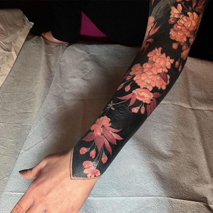 Floral Sleeve Body Art by Esther Garcia