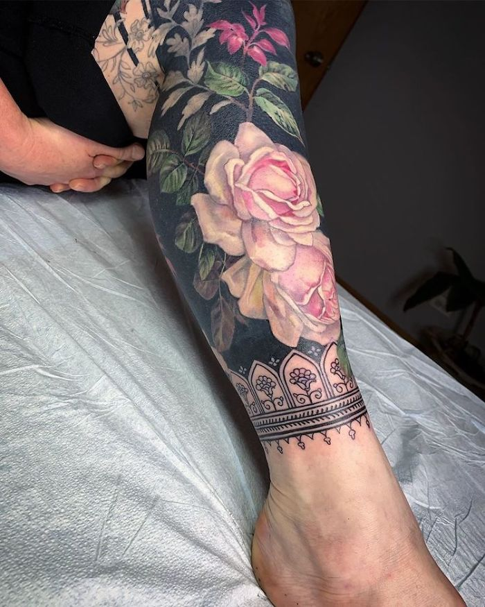 Floral Tattoo by Esther Garcia on Lower Leg