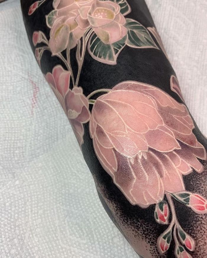 Floral Tattoo with Black Background by Esther Garcia