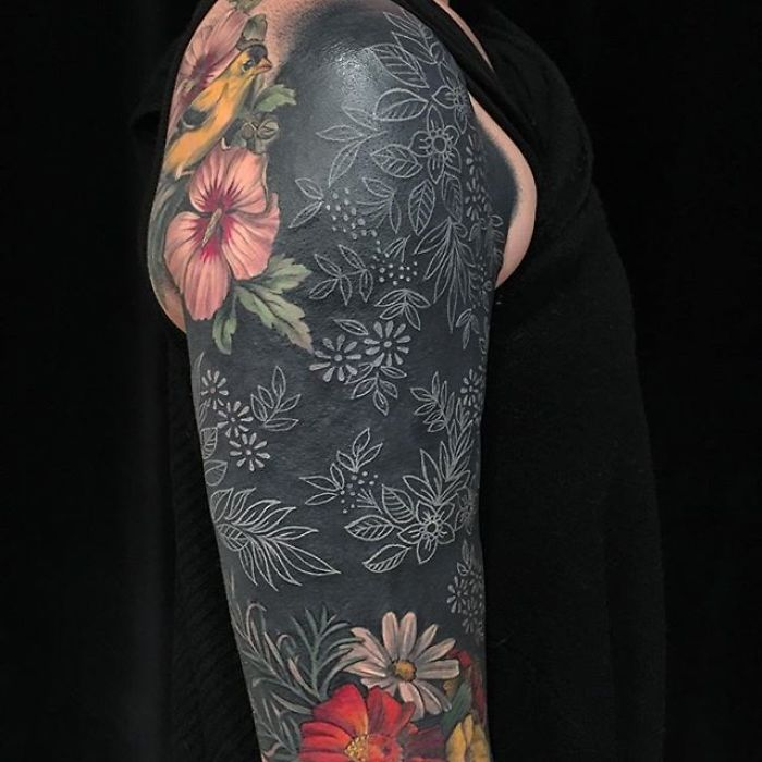 Floral Tattoos on Black Background by Esther Garcia