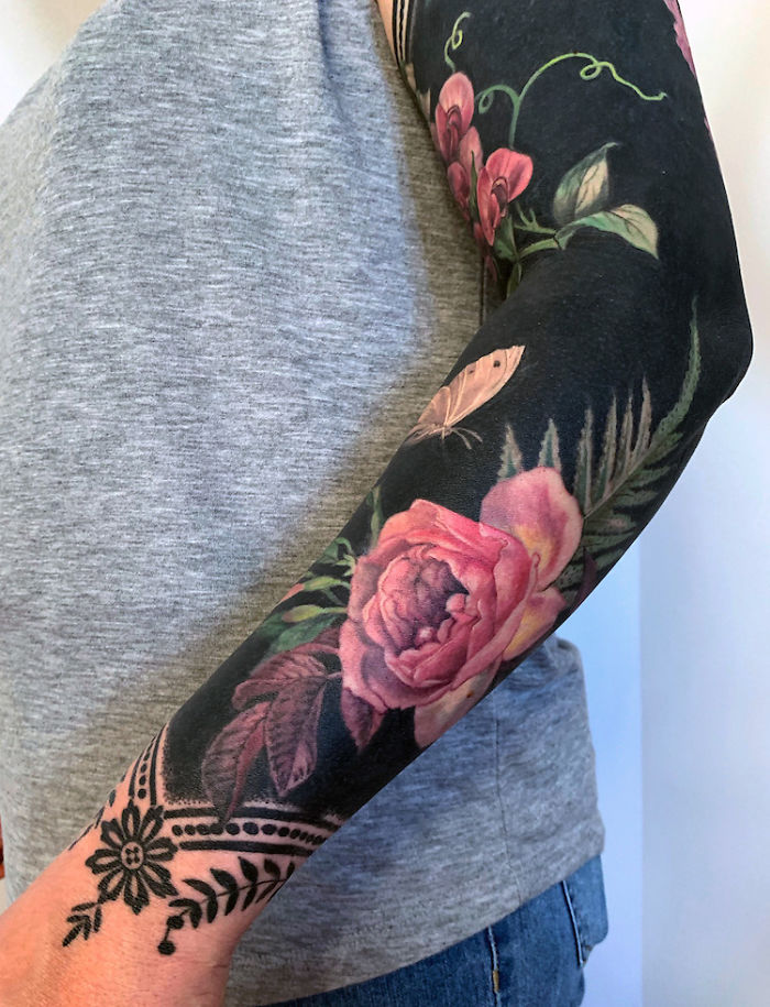 Flower and Butterfly Sleeve Tattoo by Esther Garcia