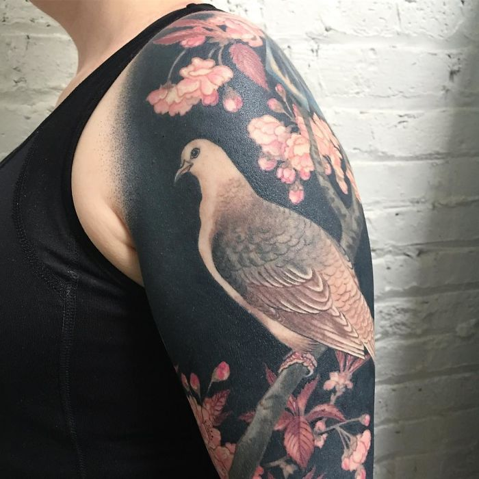 Flowers and Bird Blackout Tattoo Closeup by Esther Garcia