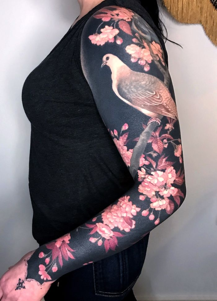 Flowers and Bird on Black Background Body Art by Esther Garcia