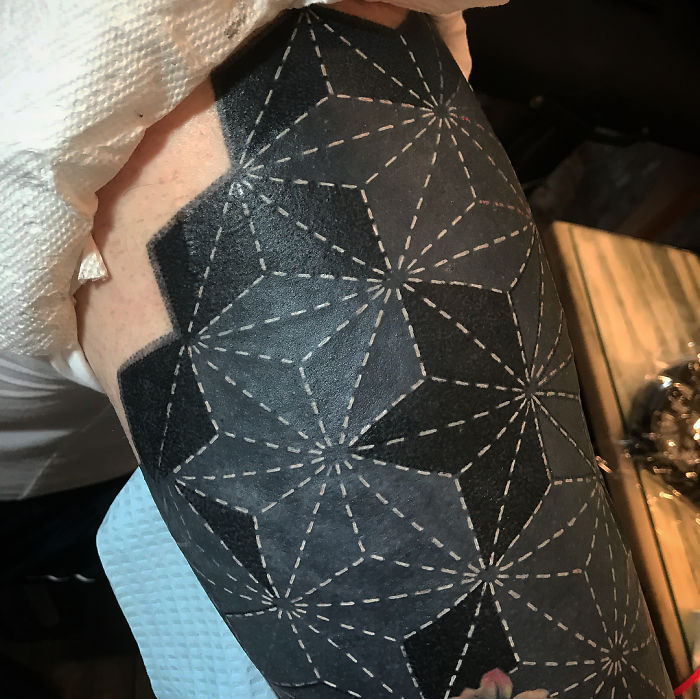 Geometric Pattern Blackout Tattoo by Esther Garcia
