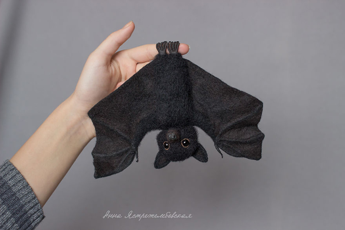 Handmade Felted Wool Bat Toy Hanging Upside Down by Anna Yastrezhembovskaya