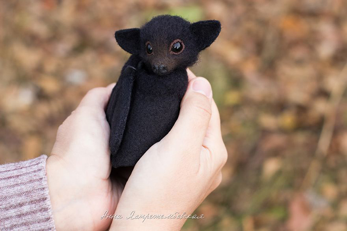 Handmade Felted Wool Bat Toy by Anna Yastrezhembovskaya