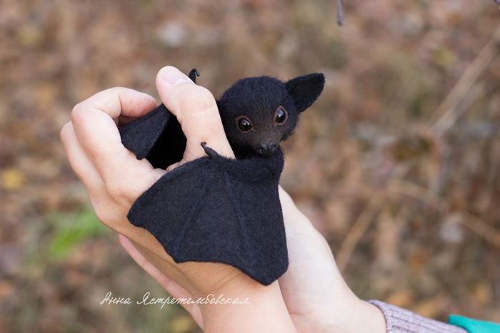 Handmade Felted Wool Bat Toy with Open Wings by Anna Yastrezhembovskaya