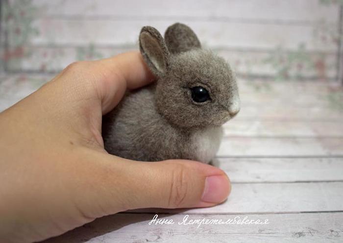 Handmade Felted Wool Rabbit Toy by Anna Yastrezhembovskaya