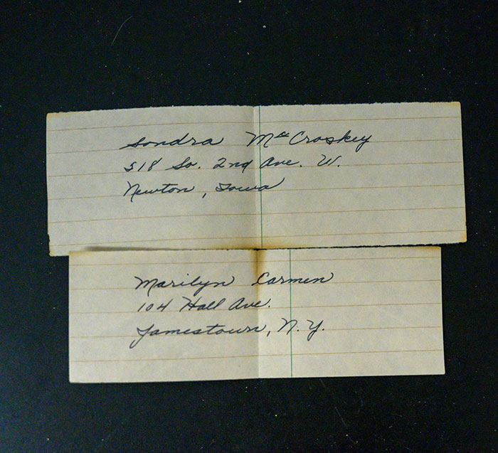 Handwritten Addressesof Sandra McCraskey and Marilyn Carmen