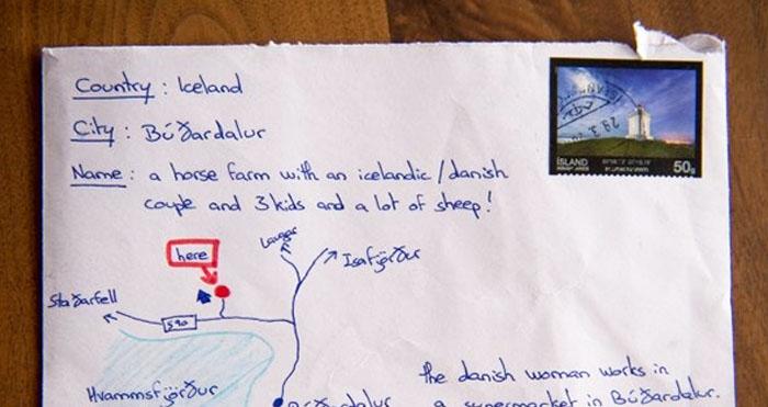 Iceland Map On Envelope
