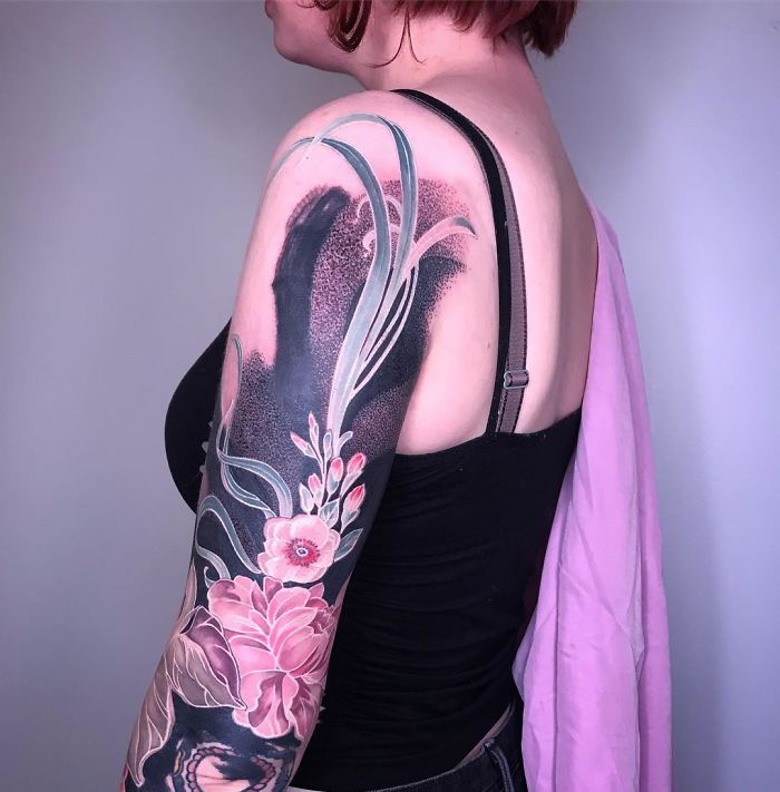 Intricate Floral Sleeve Tattoo by Esther Garcia