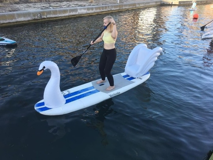 Lady on a Swan Inflatable Paddleboard