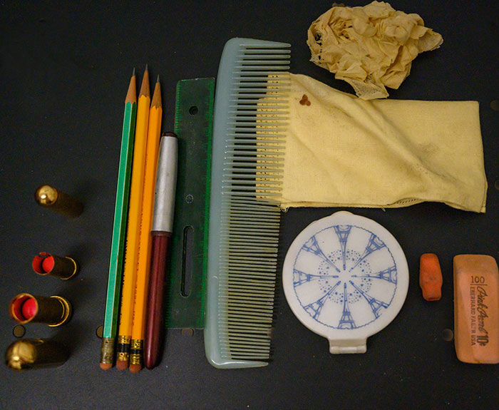 Makeup, Pencils, and a Comb Found inside Patti Rumfola's Purse