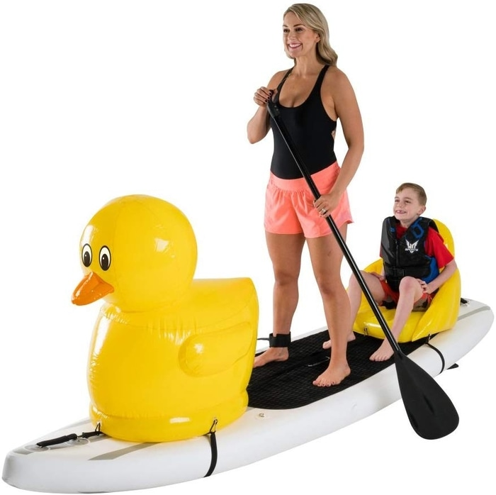 Mother and Son on a Duck Paddleboard