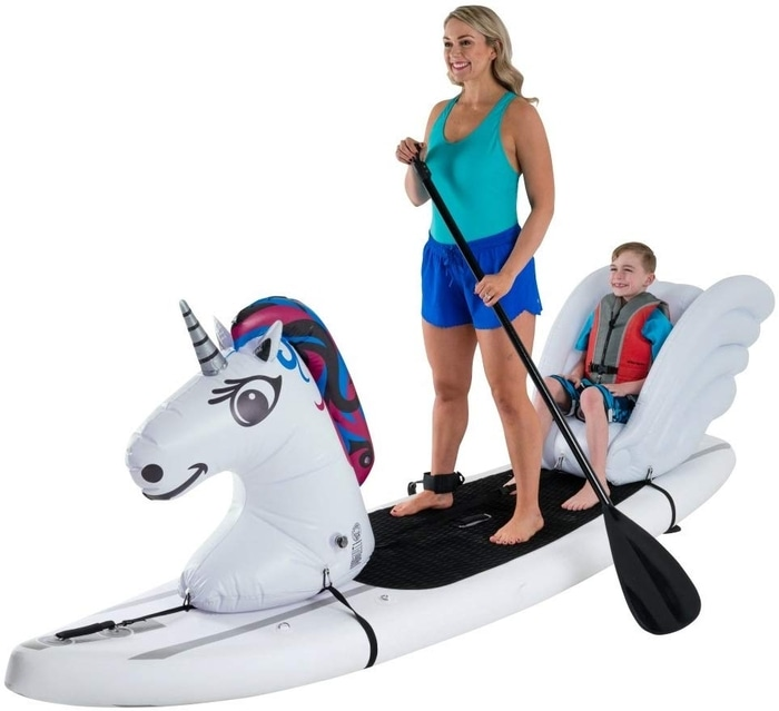Mother and Son on a Unicorn Paddleboard