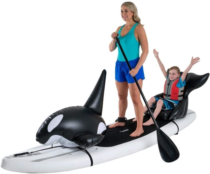 Mother and Son on an Orca Paddleboard
