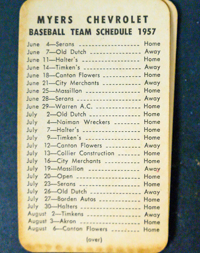 Myers Chevrolet Baseball Team Schedule 1957