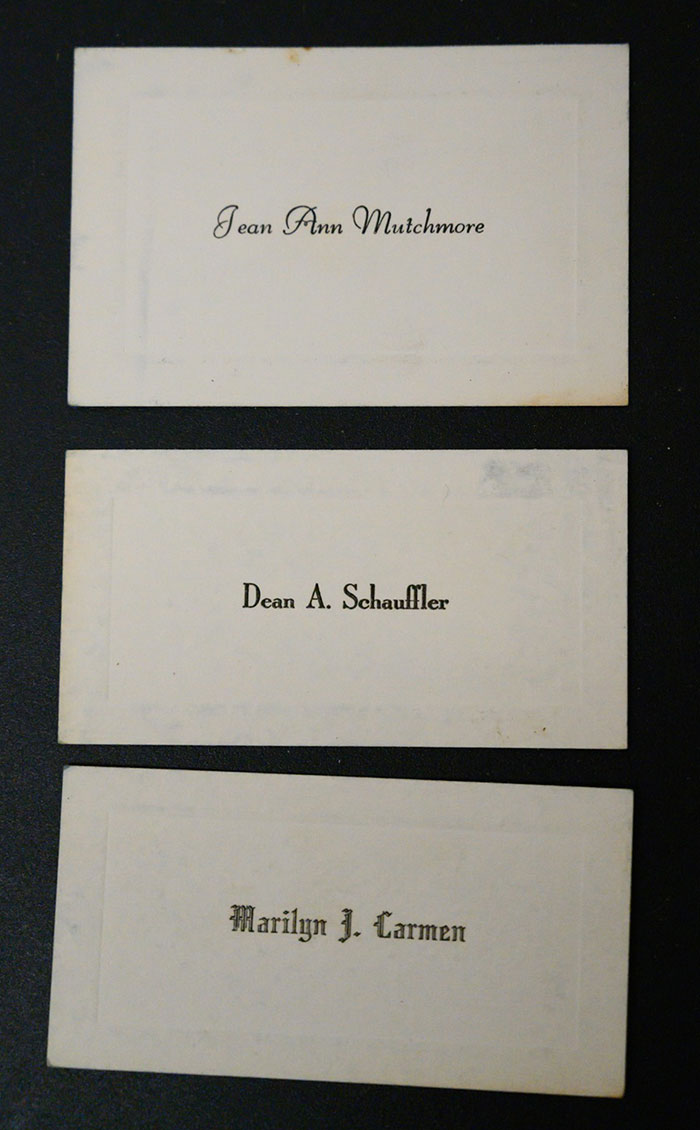 Name Cards of Jean Ann Mutchmore, Dean A. Schauffler, and Marilyn J. Carmen