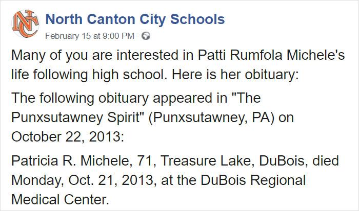 North Canton City Schools Facebook Post on Patti Rumfola's Obituary 1
