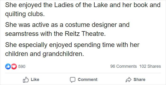 North Canton City Schools Facebook Post on Patti Rumfola's Obituary 3
