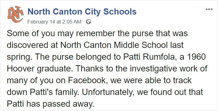 North Canton City Schools Facebook Post on Patti Rumfola's Red Purse 1