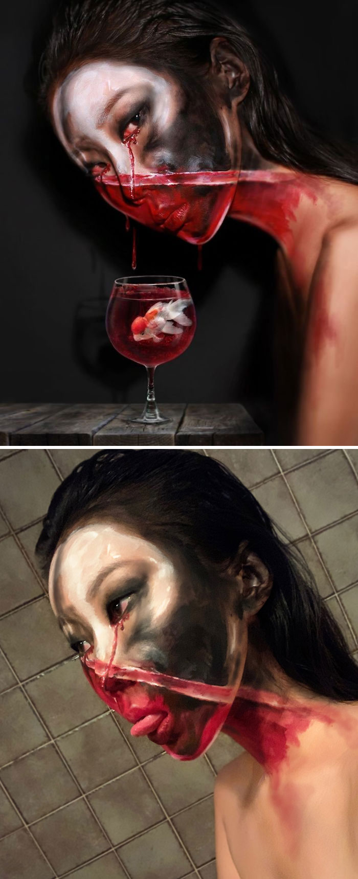 Optical Illusion Makeup Face with Dripping Blood