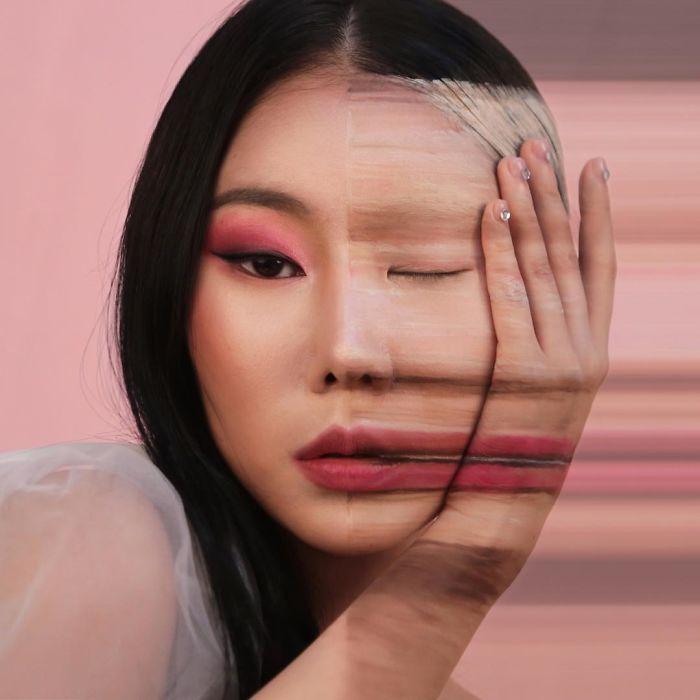 Optical Illusion Makeup Fading Face