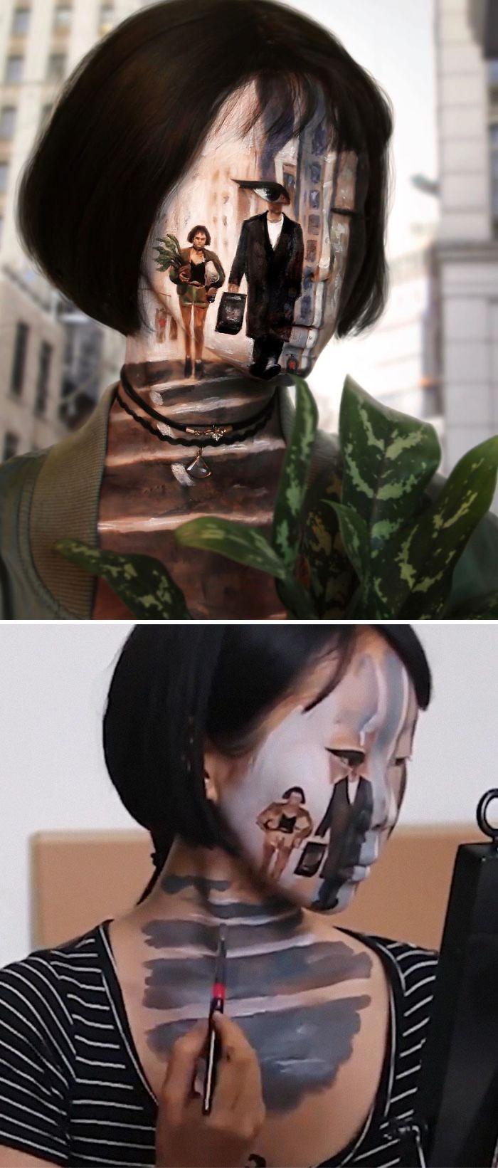 Optical Illusion Makeup Man and Woman
