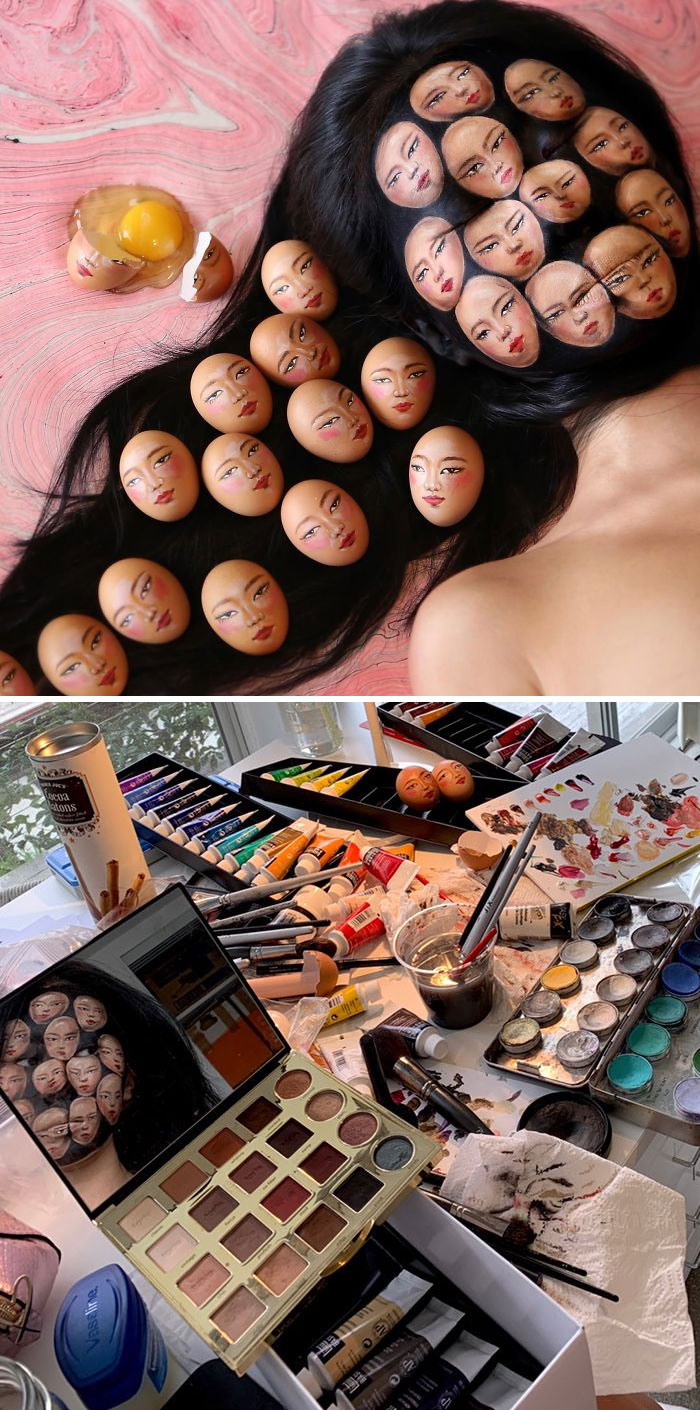 Optical Illusion Makeup Multiple Faces on Face and Hair