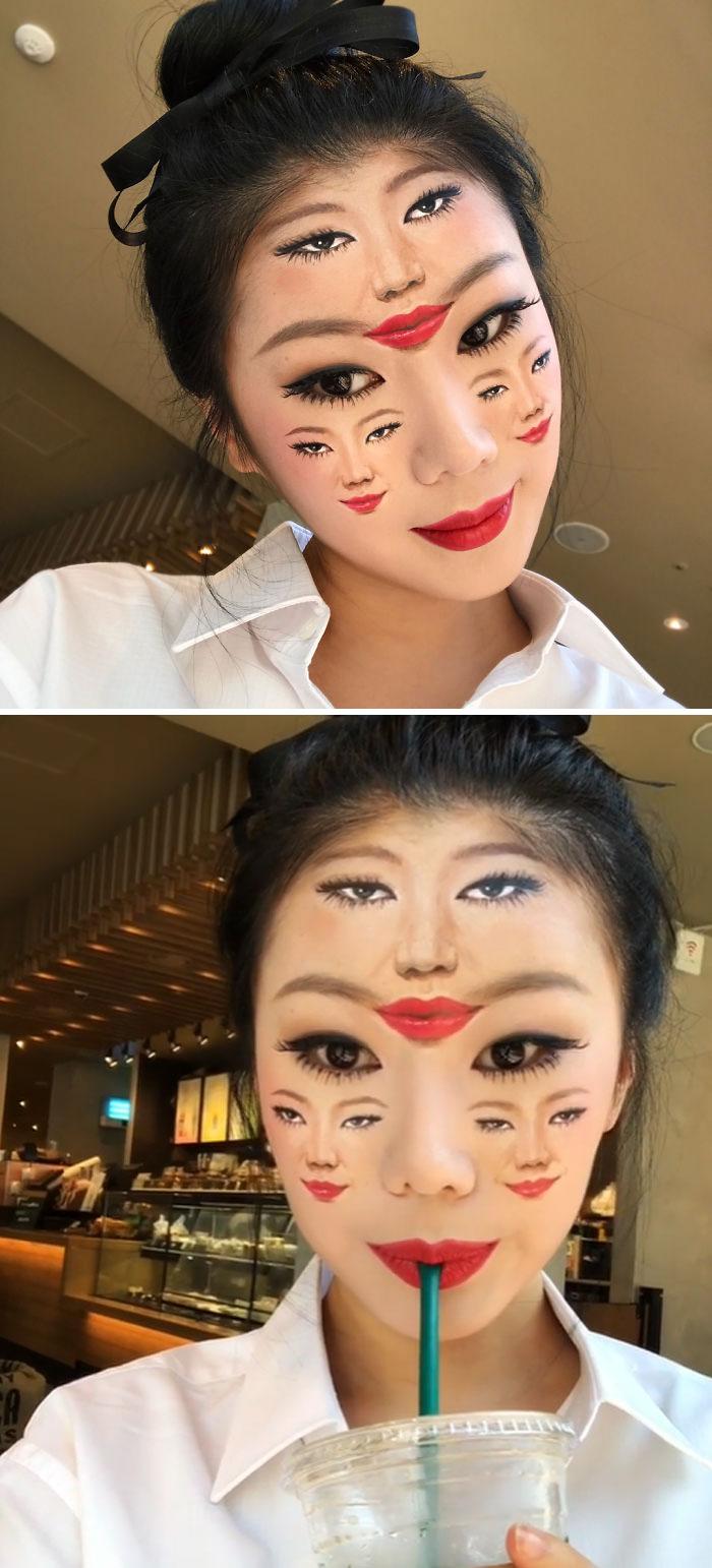 Optical Illusion Makeup Multiple Faces