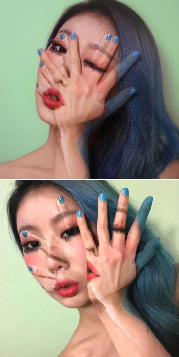 Optical Illusion Makeup One Hand on Face