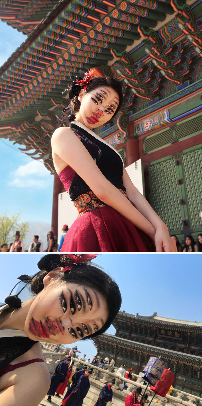 Optical Illusion Makeup Overlapping Faces