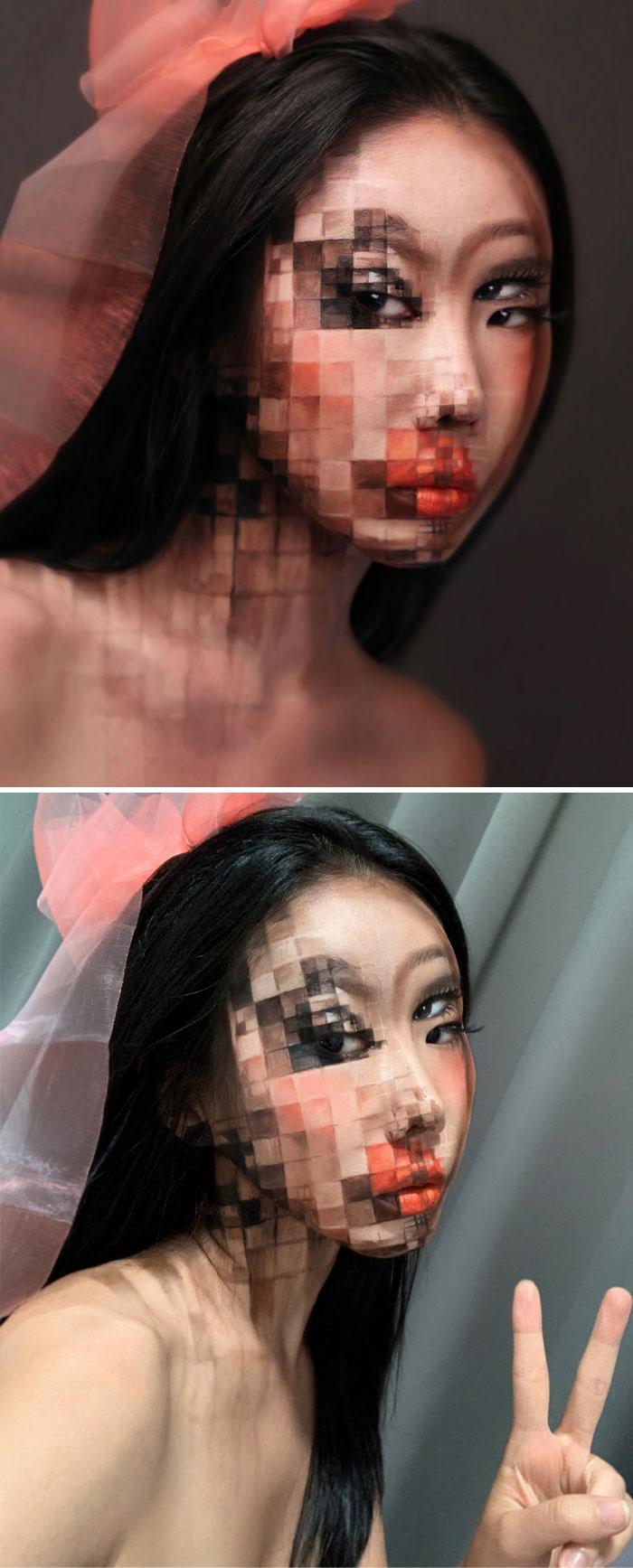 Optical Illusion Makeup Pixelated Faces
