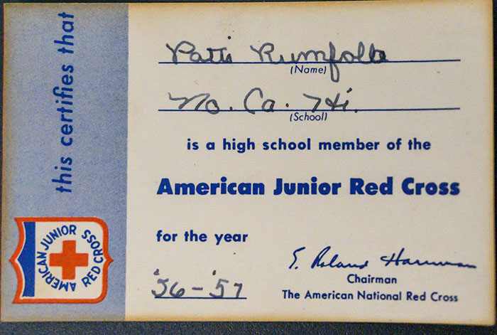 Patti Rumfola's American Junior Red Cross Membership Card