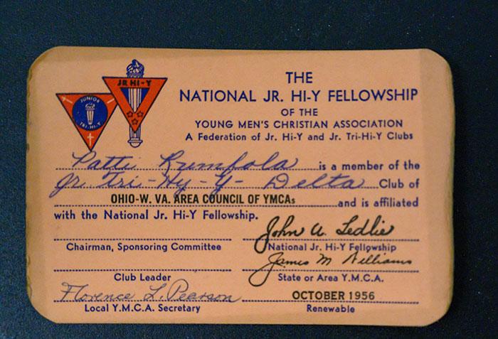 Patti Rumfola's National JR. Hi-Y Fellowship membership Card