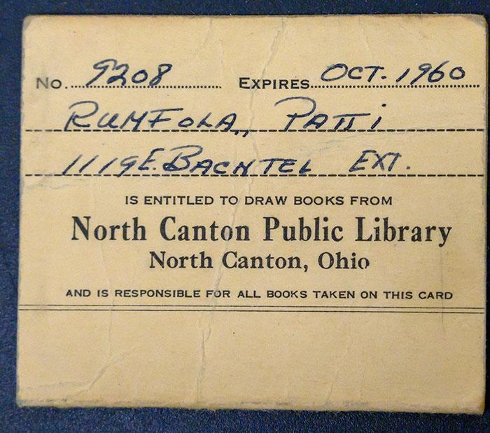 Patti Rumfola's North Canton Public Library Card