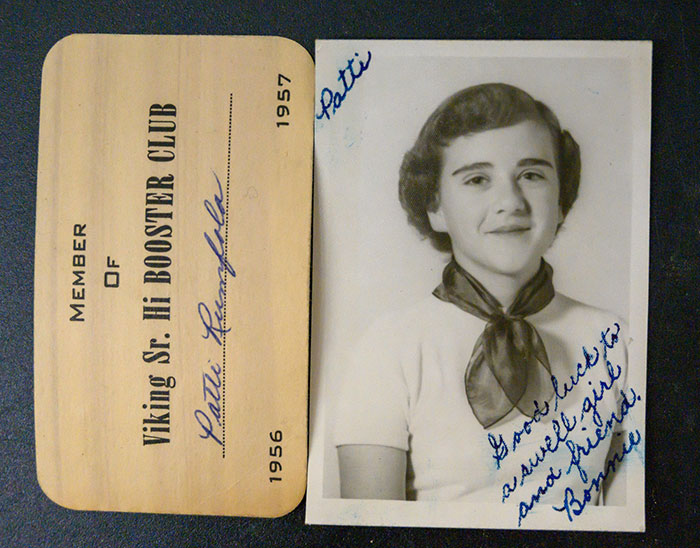 Patti Rumfola's Viking Sr. Hi Booster Club Membership Card and Photo with Dedication from Bonnie