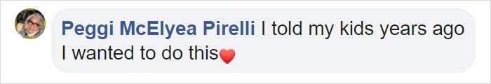 Peggi McElyea Pirelli Facebook Comment