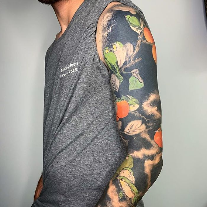 Persimmons and Birds Coverup Tattoo by Esther Garcia
