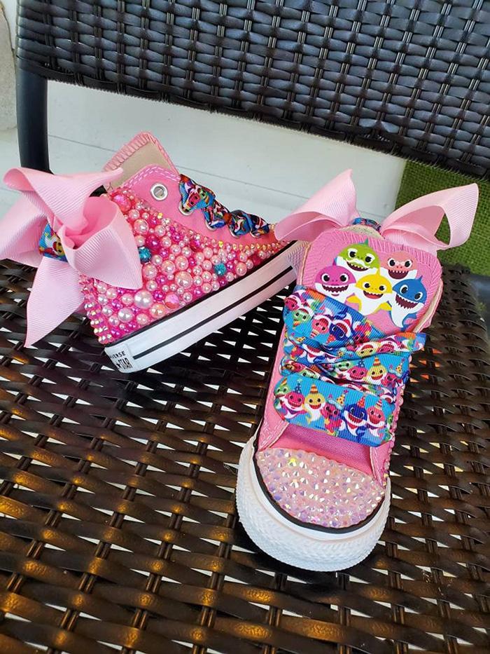 Pink Custom Baby Shark High-top Sneakers by KlutteredKicks
