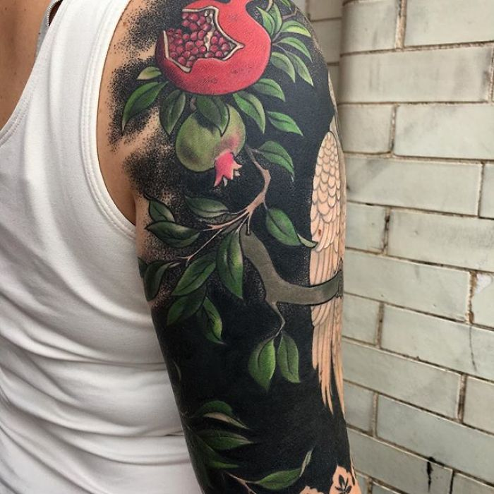 Pomegranate Blackout Tattoo by Esther Garcia