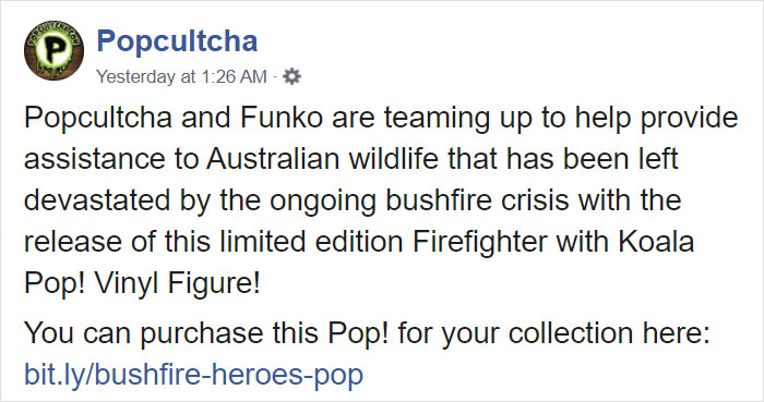 Popcultcha Facebook Post about Bushfire Heroes Special Edition Funko Pop Figure 1