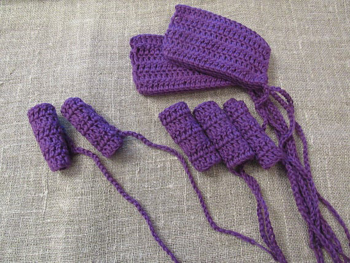 Purple Crocheted Tampons