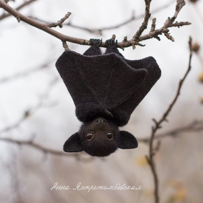 Realistic Felted Wool Bat Toy Hanging Upside Down
